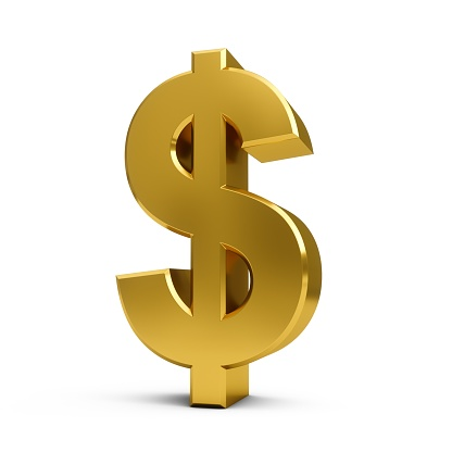 Oro De Renderizado 3d Signo De Dólar Aislado Sobre Fondo Blanco Foto de stock y más banco de imágenes de Actividades bancarias