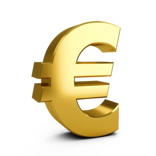 3d-rendering golden eurozeichen isoliert auf weißem hintergrund - euro symbol stock-fotos und bilder