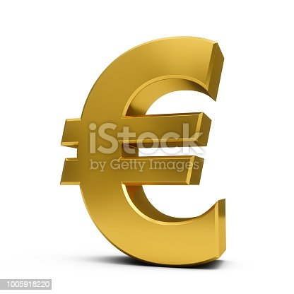 3D Rendering golden Euro Sign isolated on white background.