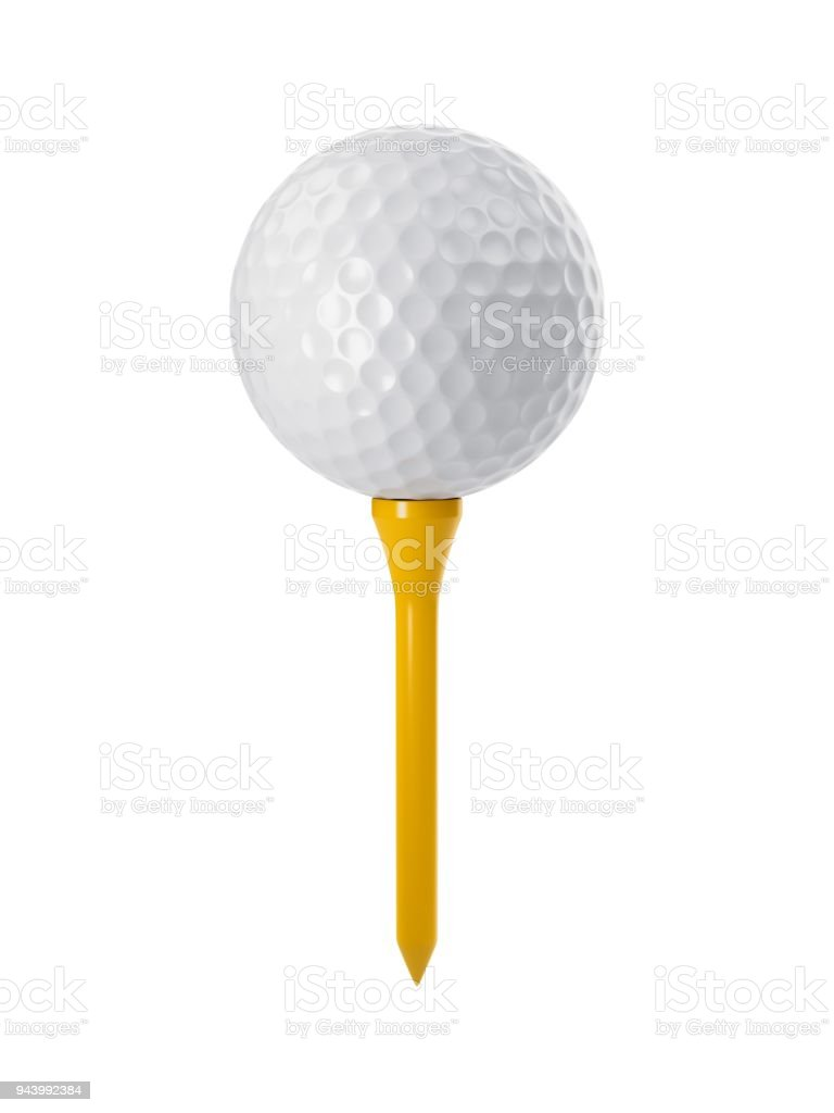 3D rendering golf ball on yellow tee isolated on white.