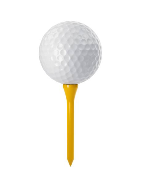 3D rendering golf ball on yellow tee isolated on white 3D rendering golf ball on yellow tee isolated on white. golf ball stock pictures, royalty-free photos & images