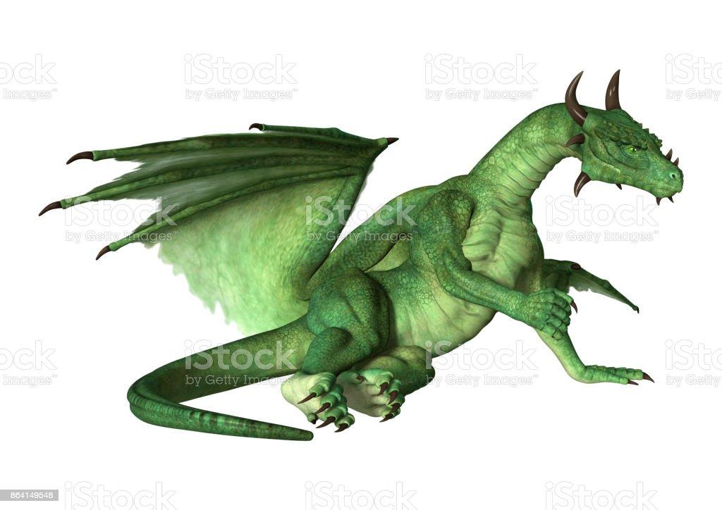 3D rendering green fantasy dragon on white royalty-free stock photo