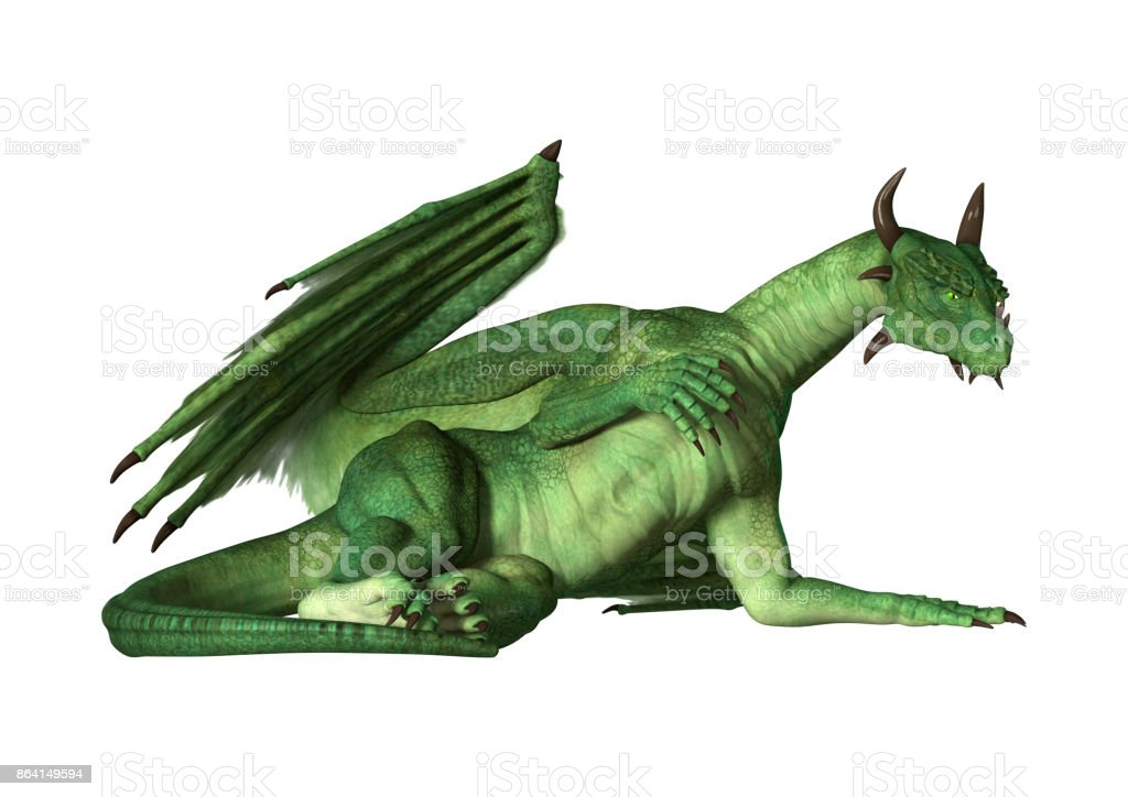 3D rendering green fantasy dragon on white royalty-free stock photo