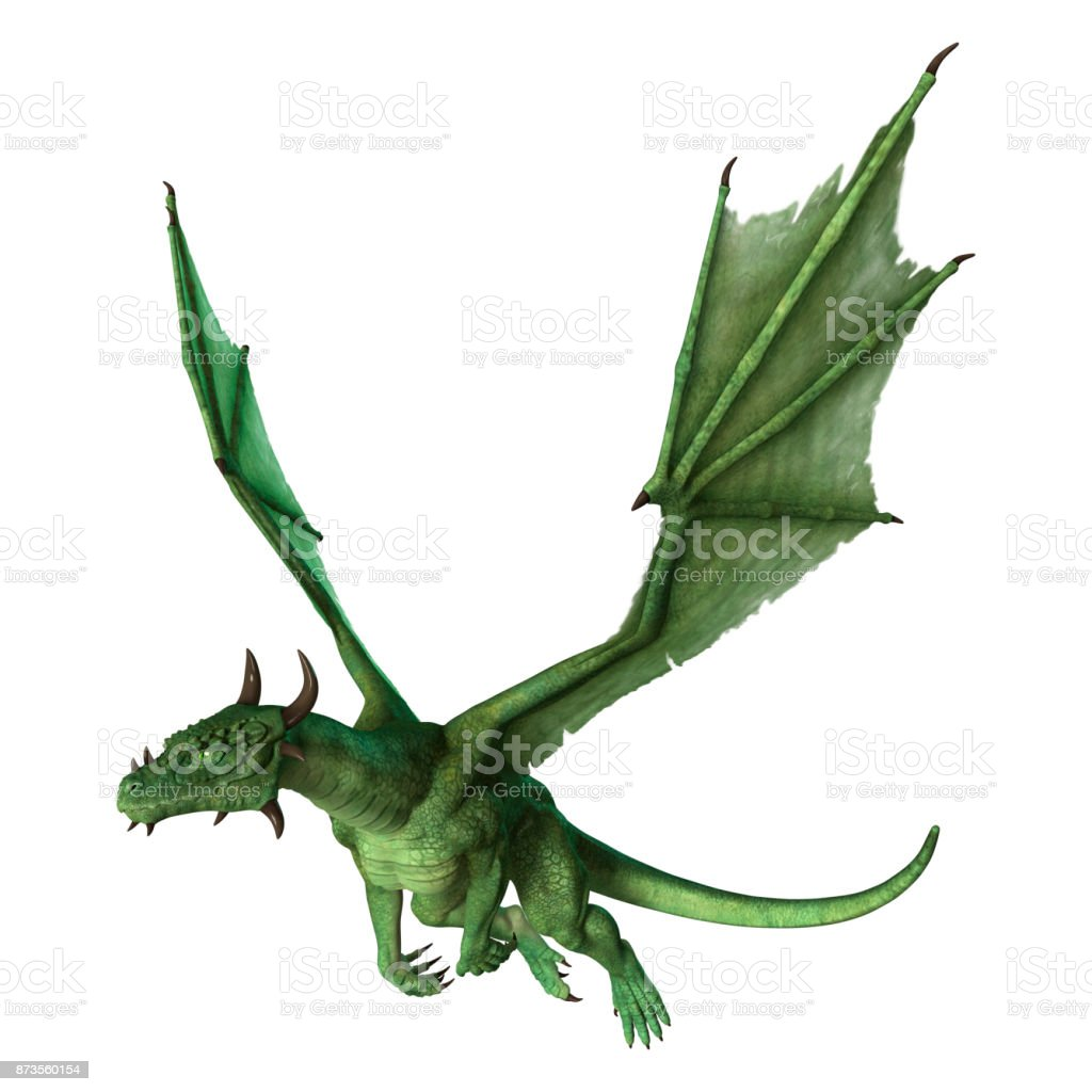 3D rendering green fantasy dragon on white stock photo
