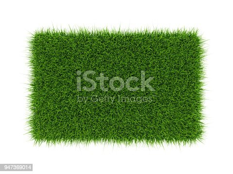 3D Rendering green grass field isolated on white background.