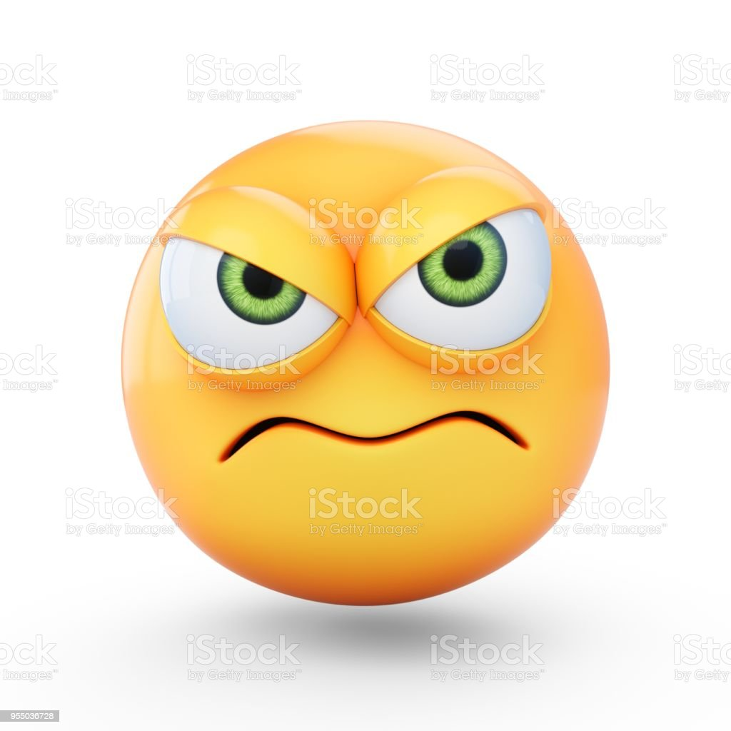 3D Rendering grumpy emoji isolated on white background stock photo