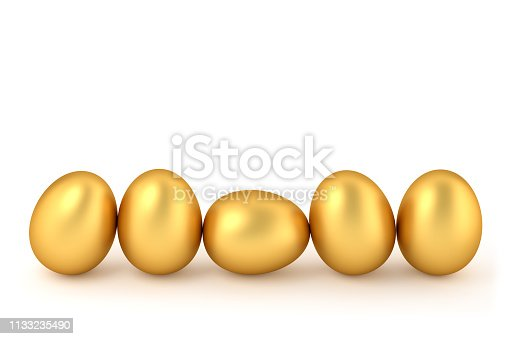 3D rendering - Happy easter: Five golden easter eggs in a row isolated on white. Copy space for easter message.
