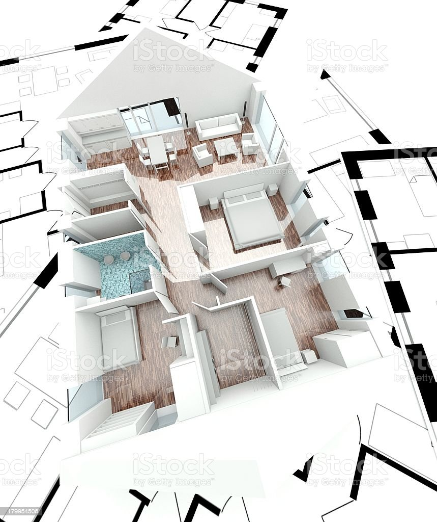 3D rendering house plan royalty-free stock photo