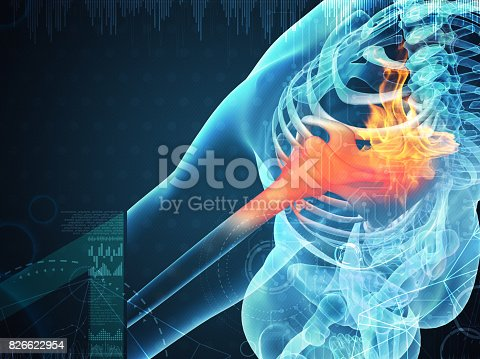 3D rendering human shoulder pain with the anatomy of a skeleton shoulder