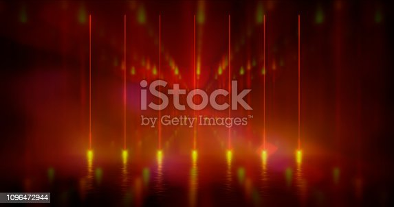 1033058616istockphoto 3D Rendering Illustration. Futuristic Sci-Fi Abstract Red And Purple Neon Light Shapes On Black Background And Reflective Concrete With Empty Space For Text 1096472944