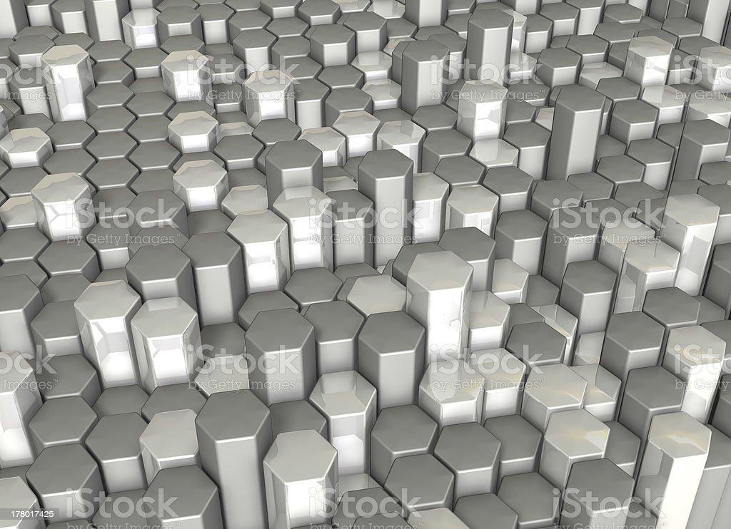 Rendering image looks like Crystals of hexagonal column royalty-free stock photo