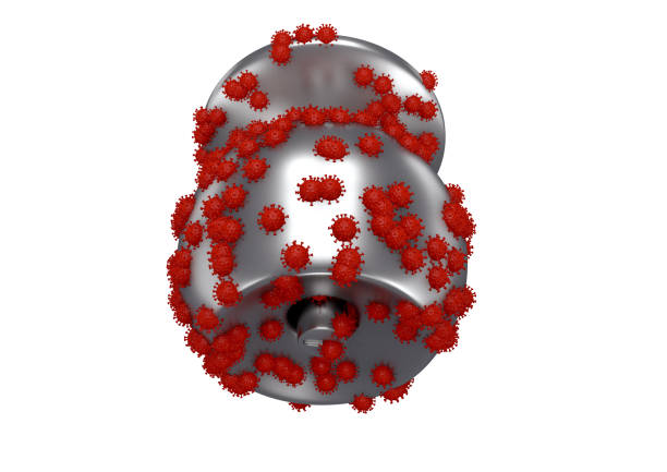 A 3D rendering image of corona covid 19 virus group stay on gray aluminium door knob A 3D rendering image of corona covid 19 virus group stay on gray aluminium door knob for illustrated a virus can stay on metal surface up to 5 days before it die perspective front view isolated on white background deathly stock pictures, royalty-free photos & images