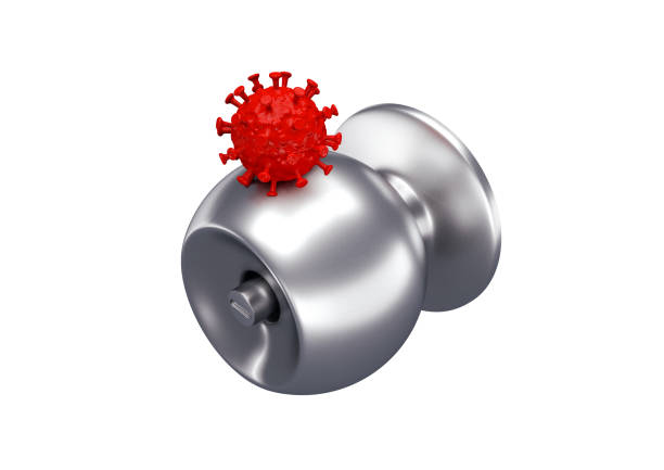 A 3D rendering image of corona covid 19 virus stay on gray aluminium door knob A 3D rendering image of corona covid 19 virus stay on gray aluminium door knob for illustrated a virus can stay on metal surface up to 5 days before it die perspective view isolated on white background deathly stock pictures, royalty-free photos & images