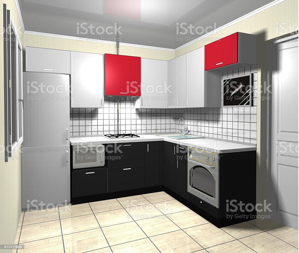3 D Desenho Projeto Interior Preto Cinza Vermelho Cozinha  ~ Cozinha Cinza Com Vermelho