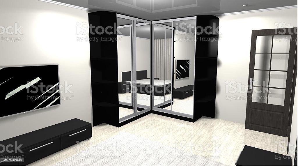 3D rendering interior design mirrored corner wardrobe foto royalty-free