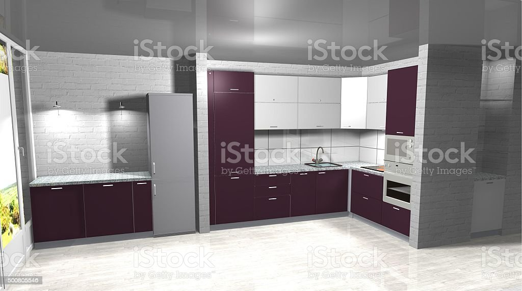 3d Rendering Interior Design White And Purple Kitchen Stock Photo Download Image Now Istock
