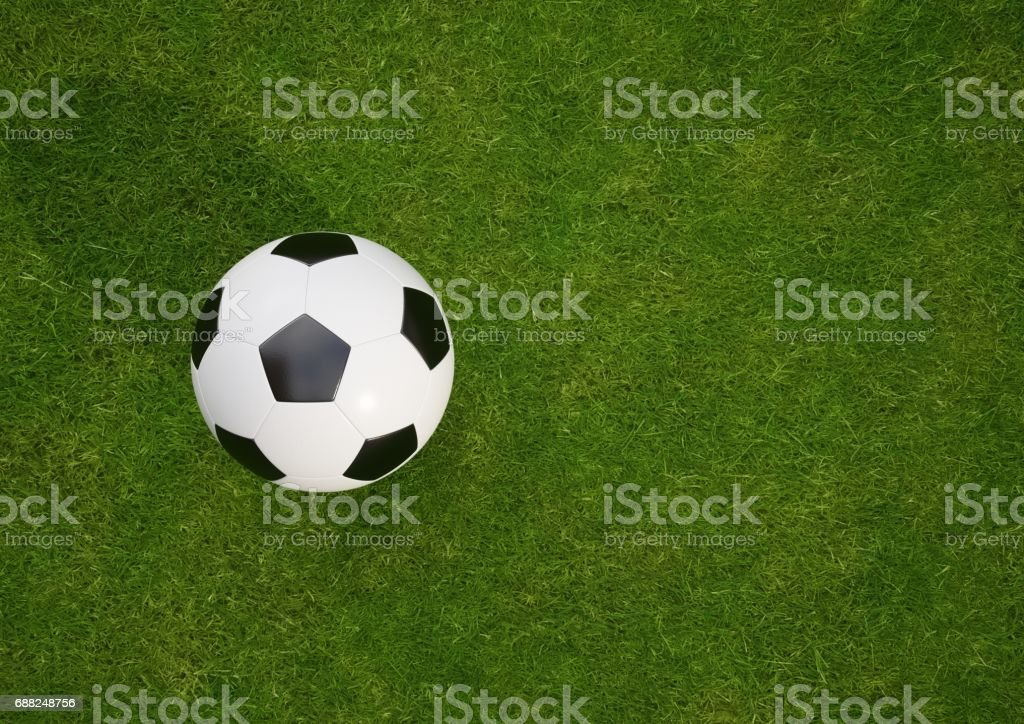 3D rendering Isolated Soccer Ball on grass field stock photo