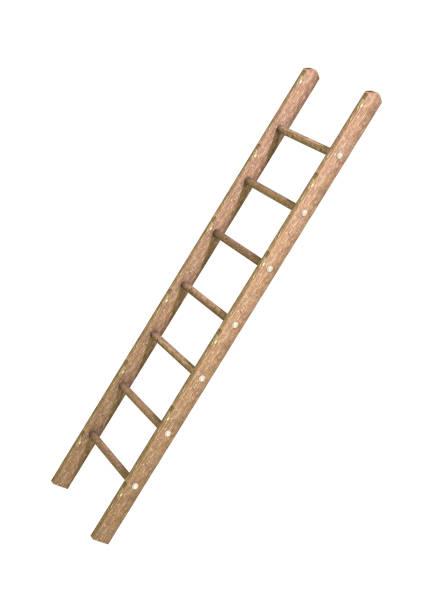 3d-rendering ladder op wit - ladder stockfoto's en -beelden