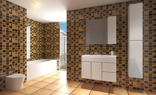 Renderização 3D. Grande banheiro com telhas de ouro nas paredes. Janela panorâmica com vista para a metrópole. Chuveiro com porta de vidro. - foto de acervo