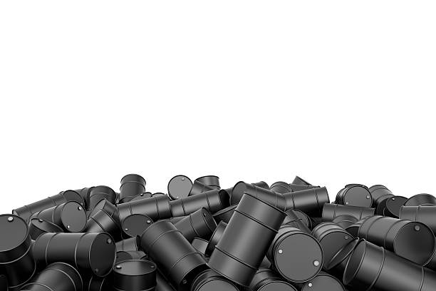 rendering large pile of black oil barrels isolated on white - opec stock-fotos und bilder
