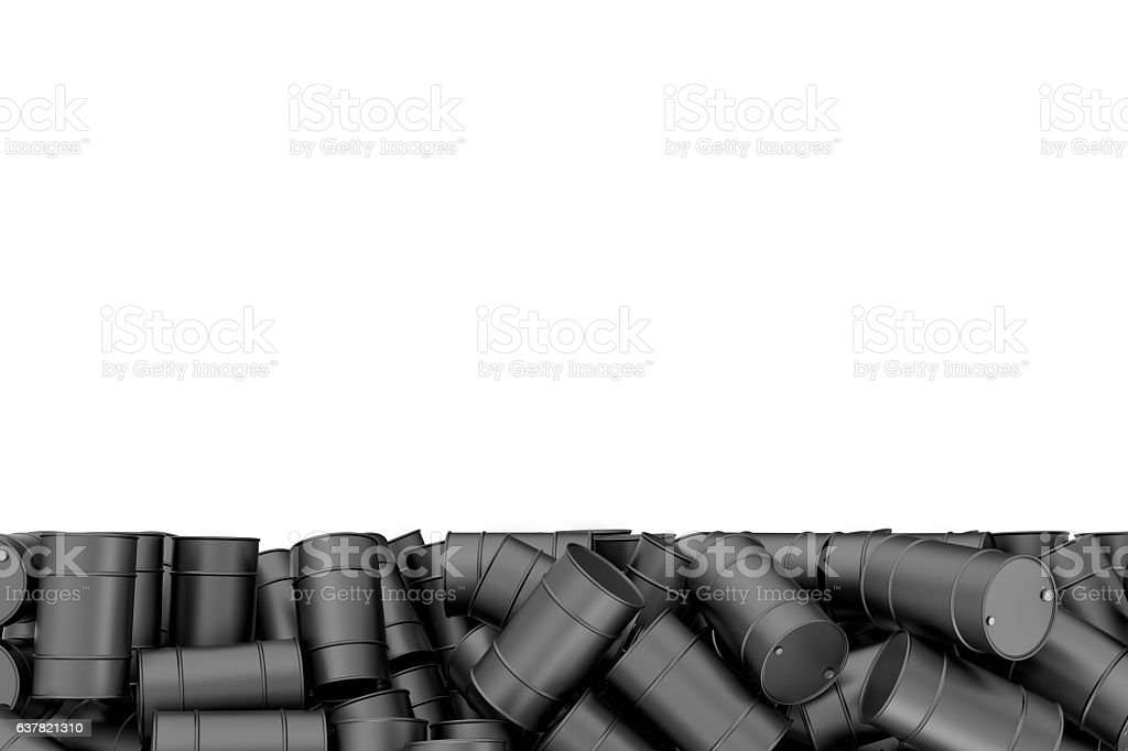 Rendering large pile of black oil barrels isolated on white stock photo