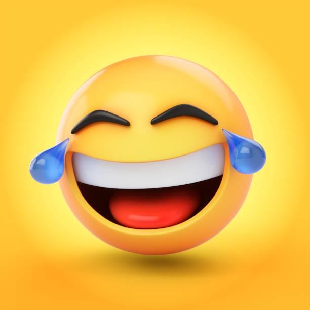 3D-Rendering Lachen Emoji mit Tränen auf gelbem Hintergrund isoliert – Foto