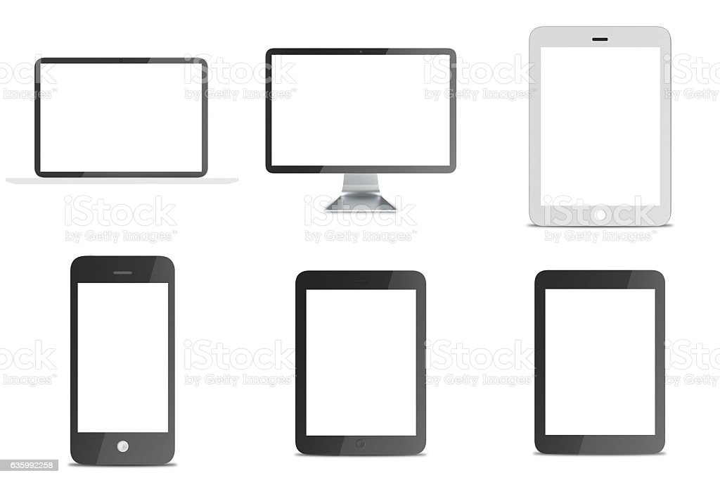 Rendering lcd monitor and notebook, tablet computer, mobile phone templates stock photo