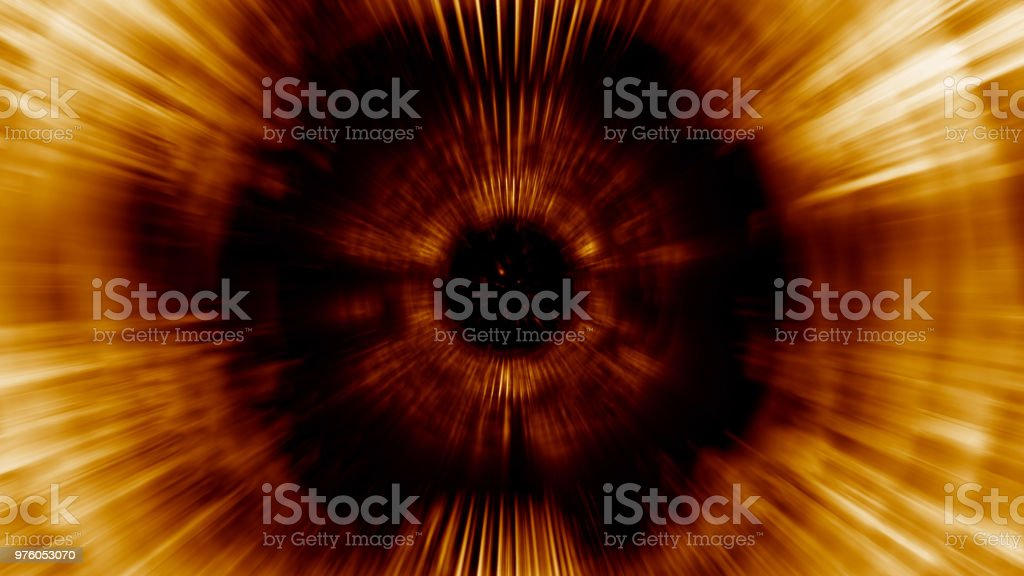 3D rendering light tunnel. Bright lines quickly move away from us stock photo