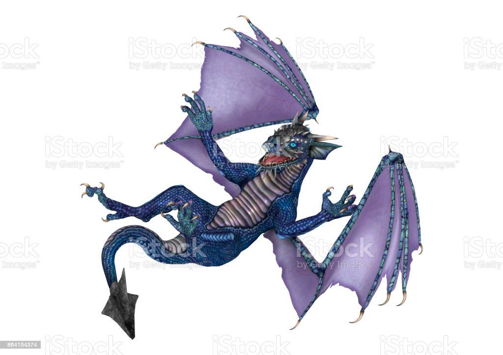 3D rendering little blue dragon on white royalty-free stock photo