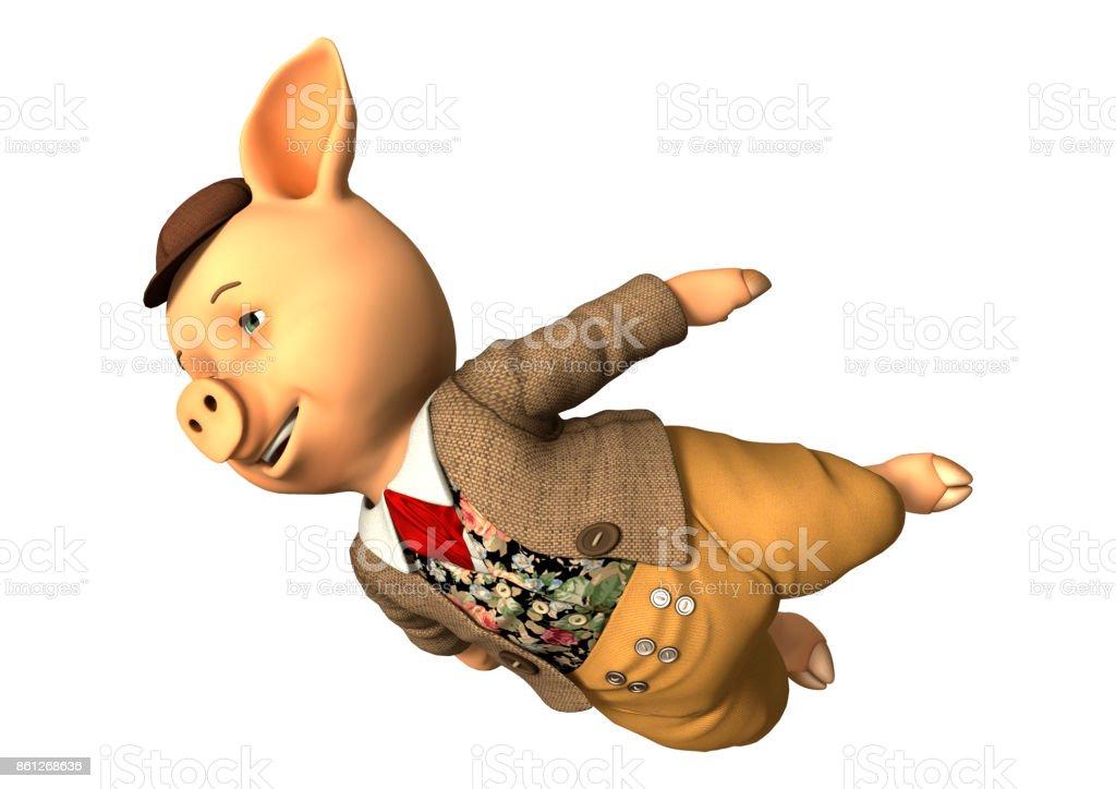 3D rendering little fairytale pig on white stock photo