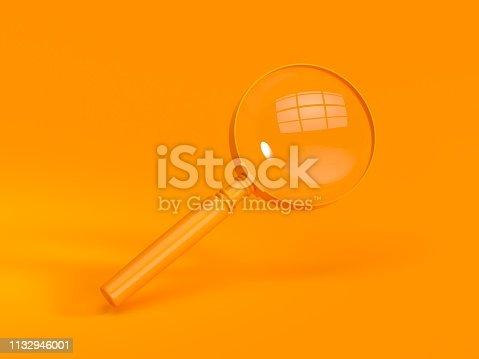 3D rendering Magnifying glass on orange Background