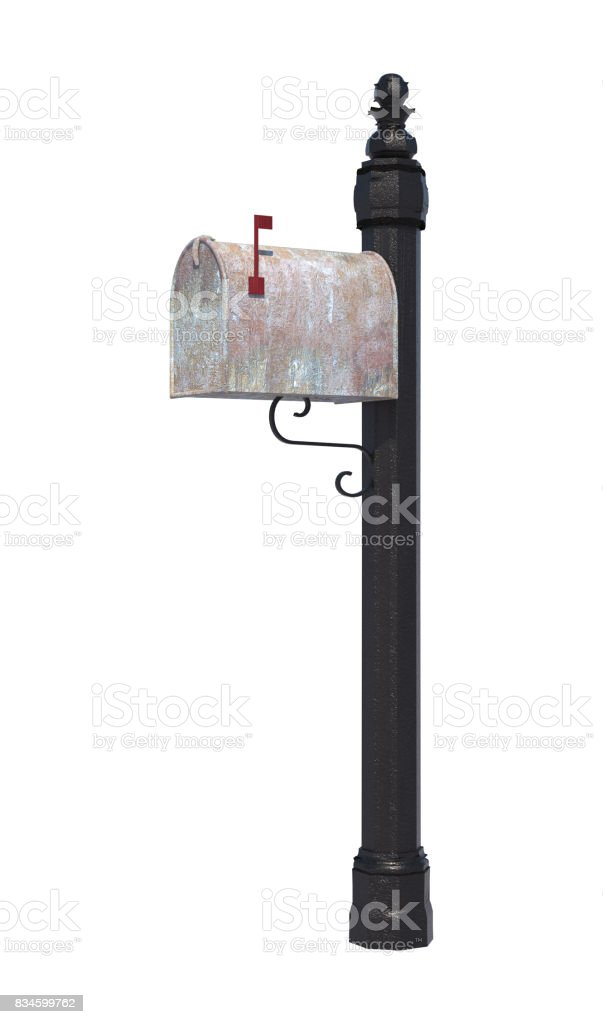 3D Rendering Mailbox on White stock photo