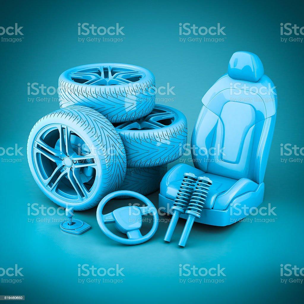 3 D Abbildung von vielen Auto Teile – Foto