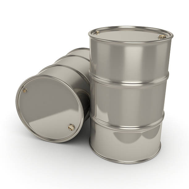 3D rendering Many chrome barrels stock photo