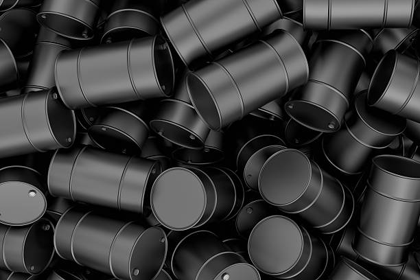 rendering many new shiny metal barrels piled on top of - wildlife reserve stock pictures, royalty-free photos & images