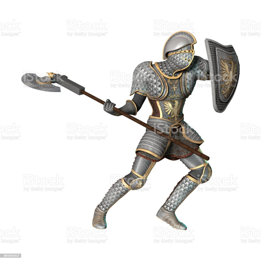 Enfin monté ! Rendering-medieval-knight-on-white-picture-id864584504