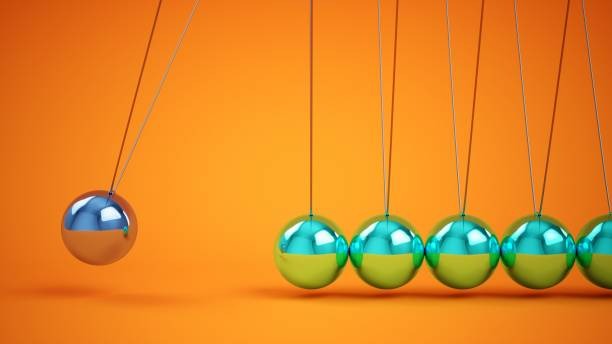 3d rendering metal newton's cradle - perpetual motion stock photos and pictures