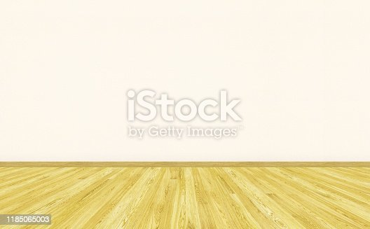 3D rendering mockup of empty living room with vintage parquet floor and beige vinyl wallpaper on the wall. Can be used for design interior.