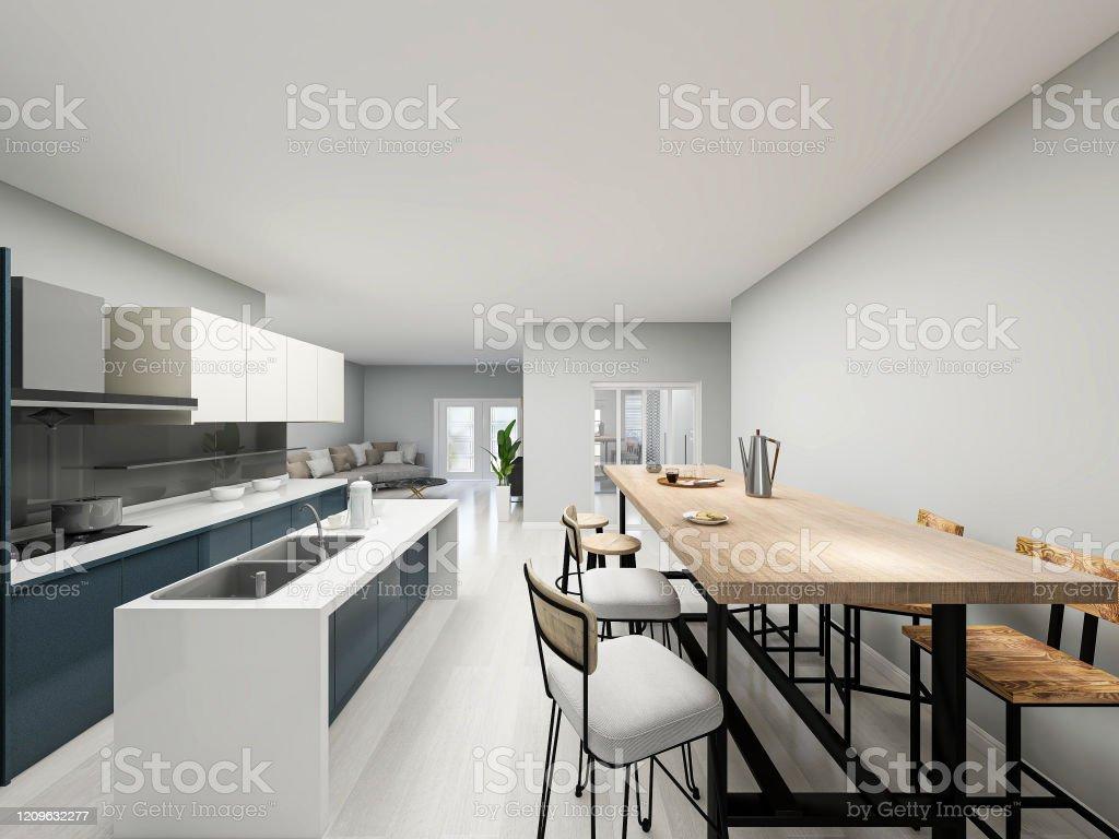 9drendering Moderne Küche Mit Barthekedesign Und Holzesstisch Daneben  Stockfoto und mehr Bilder von Designer Einrichtung