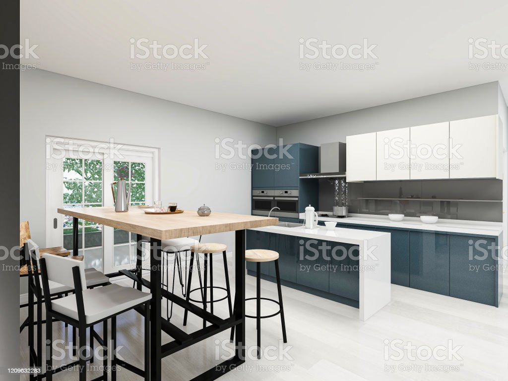 9d Rendering Modern Kitchen With Bar Counter Design And Wooden Dining Table  Next To It Stock Photo   Download Image Now