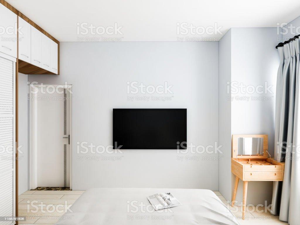 3d Rendering Modern Simple And Elegant Bedroom Design Stock ...