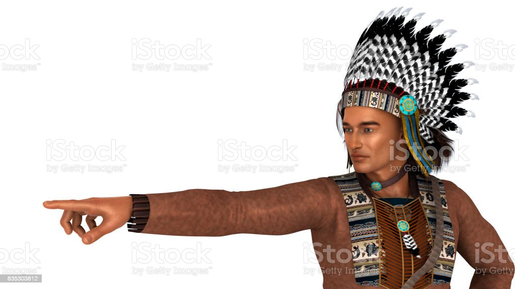 3D Rendering Native American Man on White stock photo