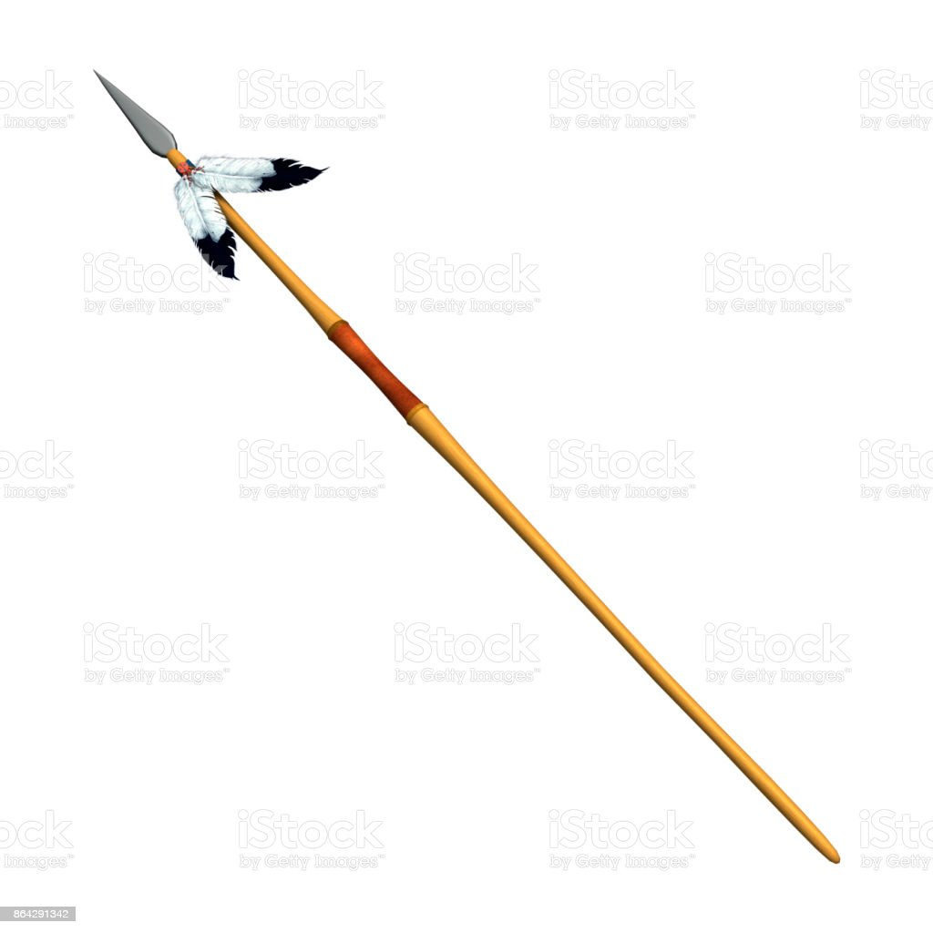 3D rendering native American spear on white royalty-free stock photo