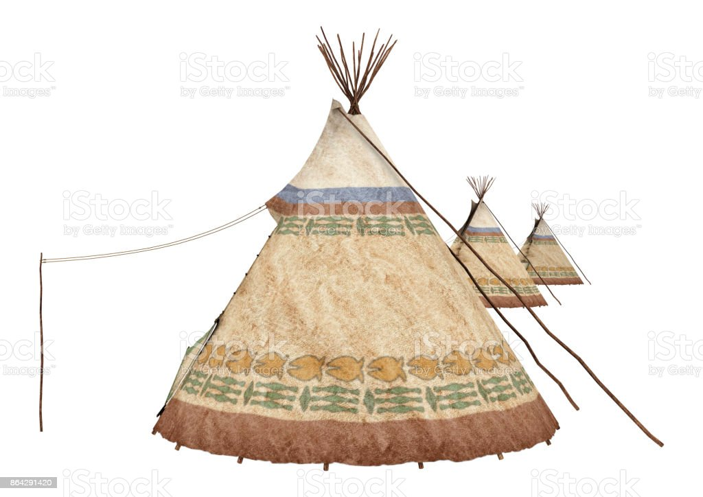 3D rendering native American teepee on white royalty-free stock photo