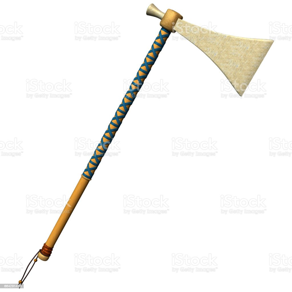 3D rendering native American tomahawk on white royalty-free stock photo
