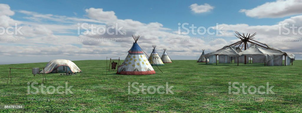 3D rendering native American village royalty-free stock photo
