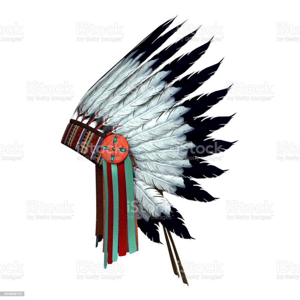 3D Rendering Native American War Bonnet on White stock photo