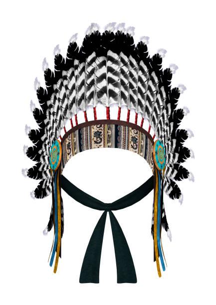 render 3d nativo americano guerra bonnet en blanco - accesorio de cabeza fotografías e imágenes de stock