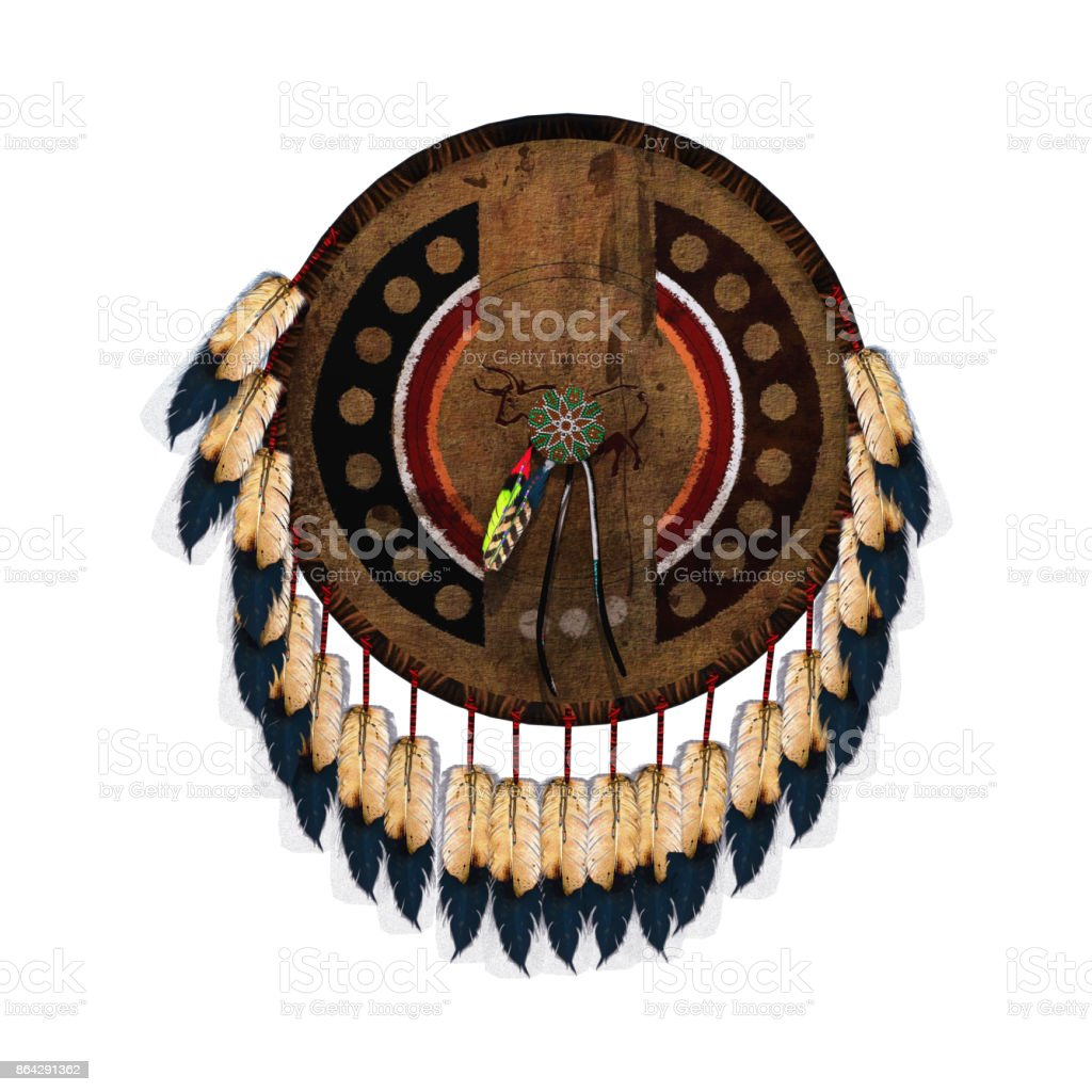 3D rendering native American war shield on white royalty-free stock photo
