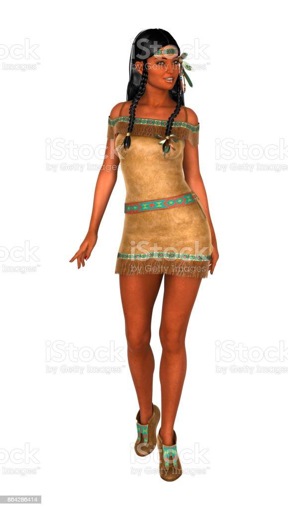 3D rendering native American woman on white royalty-free stock photo